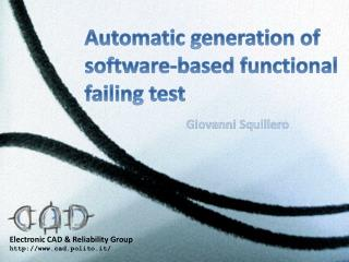 Automatic generation of  software -based functional  failing test