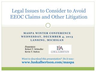 Legal Issues to Consider to Avoid EEOC Claims and Other Litigation