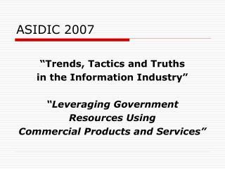 ASIDIC 2007