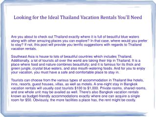 Looking for the Ideal Thailand Vacation Rentals You'll Need