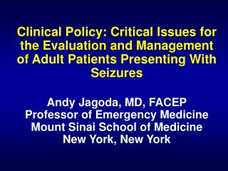 Seizure Clinical Policy