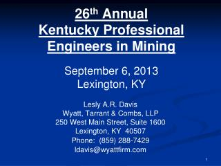 26 th  Annual Kentucky Professional Engineers in Mining