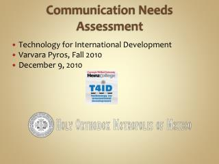 Communication Needs Assessment