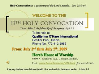 13 TH  HOLY CONVOCATION