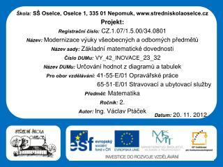 �kola: S� Oselce, Oselce 1, 335 01 Nepomuk, stredniskolaoselce.cz Projekt: