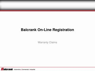 Balcrank On-Line Registration