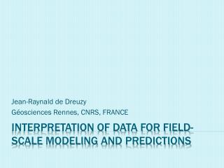 Interpretation of data for field-scale  modeling  and predictions