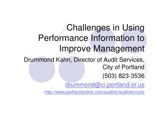 Challenges in Using  Performance Information to Improve Management