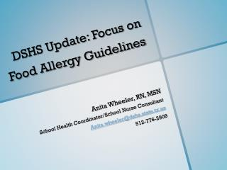 DSHS Update: Focus on Food Allergy Guidelines