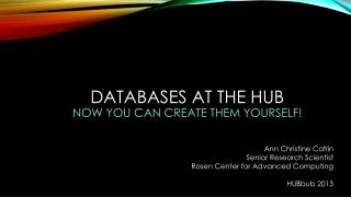 Databases at the Hub Now you can Create them yourself!