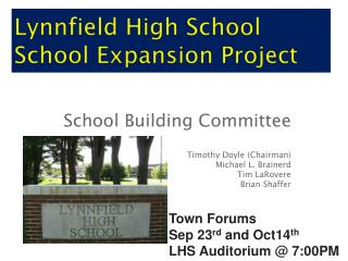 Lynnfield High School  School  Expansion Project