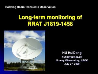 Long-term monitoring of RRAT J1819-1458