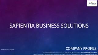 SAPIENTIA BUSINESS SOLUTIONS