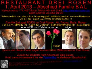 Familie Bal sagt ADIEU im Drei Rosen : Ali, Fatma, Baris, Rukan
