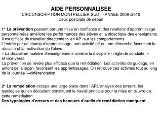 AIDE PERSONNALISEE CIRCONSCRIPTION MONTPELLIER SUD   - ANNEE 2009
