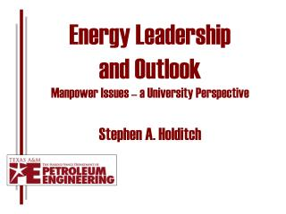 Energy Leadership  and Outlook Manpower Issues � a University Perspective