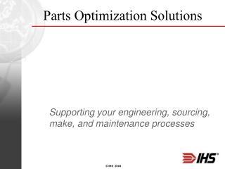 Parts Optimization Solutions