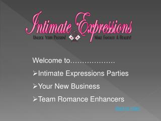Welcome to………………. Intimate Expressions Parties Your New Business Team Romance Enhancers