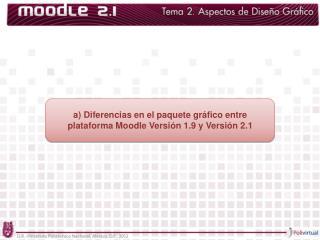 a) Diferencias en el paquete gráfico entre plataforma Moodle Versión 1.9 y Versión 2.1