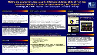 Making the Connection: Assessing the Information Literacy Skills of First-Year Students Enrolled in a Doctor of Dental M