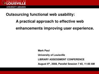 Outsourcing functional web usability:  	A practical approach to effective web