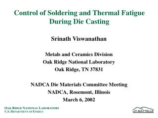 Control of Soldering and Thermal Fatigue During Die Casting