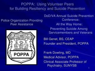 POPPA:  Using Volunteer Peers  for Building Resiliency and Suicide Prevention