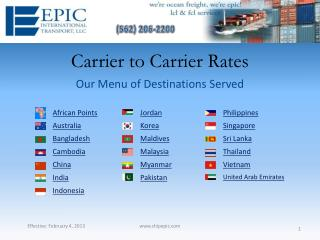 Carrier to Carrier Rates