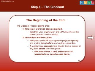Step 4 – The Closeout