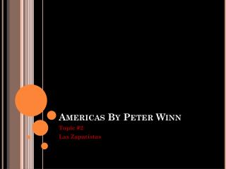 Americas By Peter Winn
