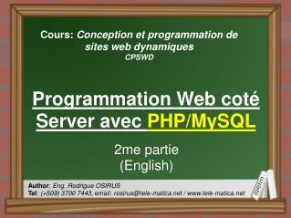 Cours:  Conception et programmation de sites web dynamiques CPSWD