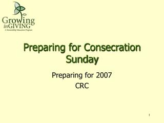 Preparing for Consecration Sunday