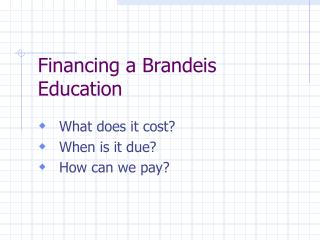 Financing a Brandeis Education