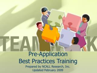 Pre-Application  Best Practices Training