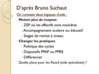 D'après Bruno  Suchaut