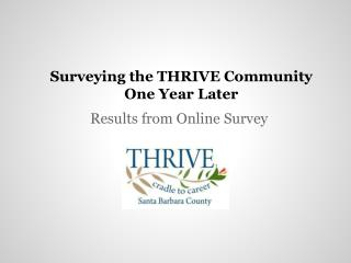 Surveying the THRIVE Community One Year Later