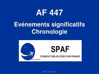 AF 447 Evénements significatifs Chronologie