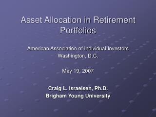 Asset Allocation in Retirement Portfolios
