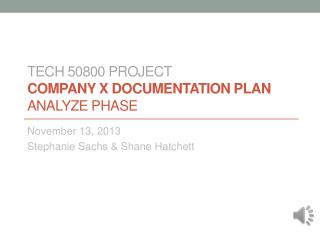 TECH 50800 PROJECT COMPANY X DOCUMENTATION PLAN ANALYZE PHASE