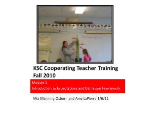 KSC Cooperating Teacher Training Fall 2010