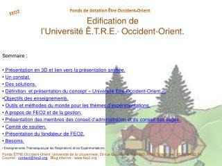 Edification de  l'Université Ê.T.R.E. *  Occident-Orient.