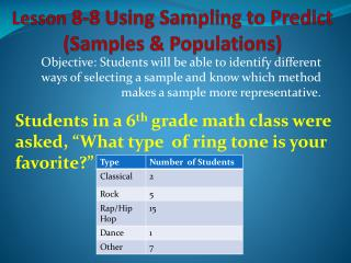 Lesson  8-8 Using Sampling to Predict (Samples & Populations)