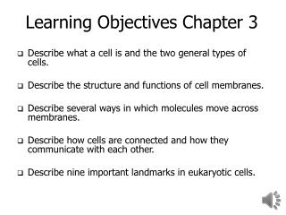 Learning Objectives Chapter 3