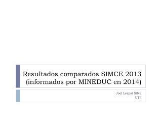 Resultados comparados SIMCE 2013 (informados por MINEDUC en 2014)