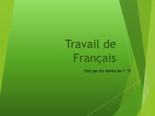 Travail de Français