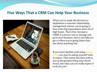 Five Ways That a CRM Can Help Your Business