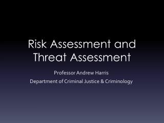 Risk Assessment and Threat Assessment