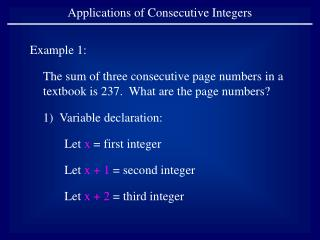 Applications of Consecutive Integers