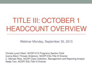 Title III: October 1 Headcount Overview