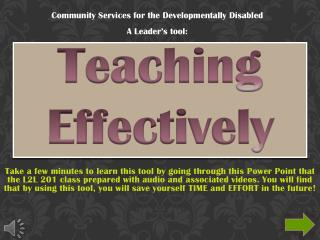 Teaching Effectively